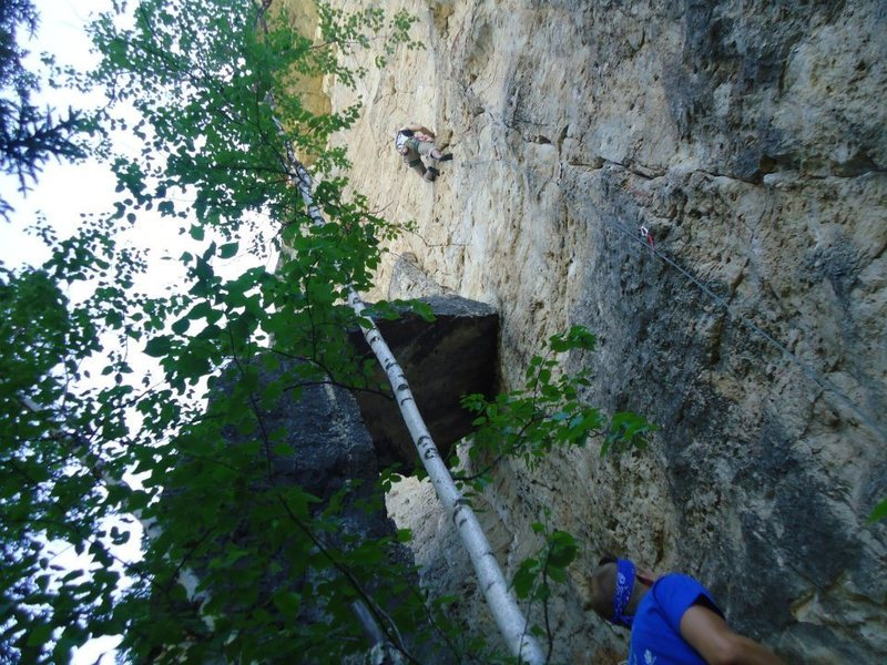 Very fun 5.10c at Mohican.  Fun moves from start to finish.  Pic is Eric Wiedenman w/ the os.