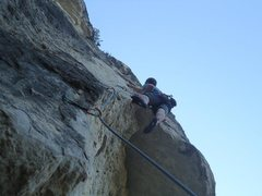 Rock Climbing Photo: Getting dicey on The Tomahawk.  Very fun route.