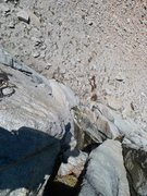 Rock Climbing Photo: looking down P1. To avoid most of the wetness I cl...