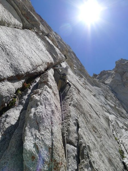 Rock Climbing Photo: Mike leading the crux pitch; sustained 10 but not ...