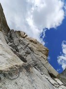 Rock Climbing Photo: the 10b traverse on P5 (even spicier with wet shoe...