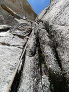 Rock Climbing Photo: wet mossy bit on P5