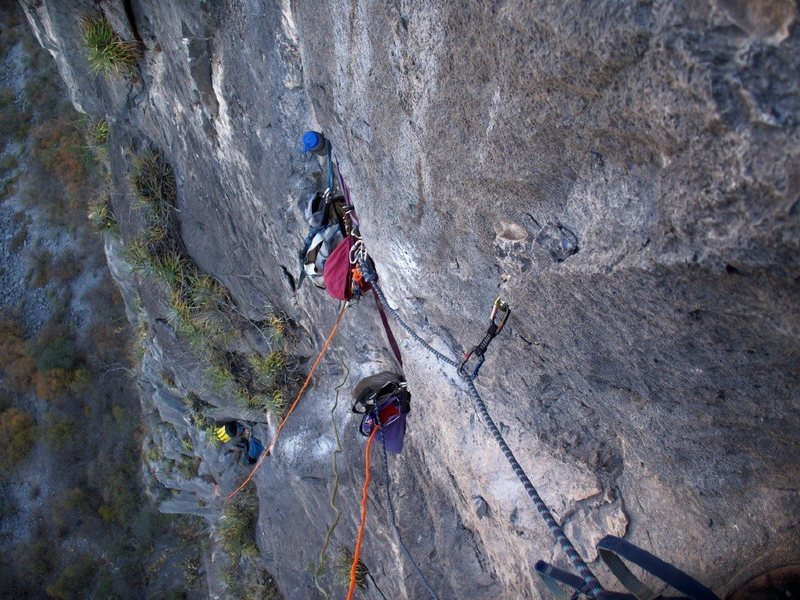 Rock Climbing Photo: Looking down the first 20 feet of the 5th pitch of...