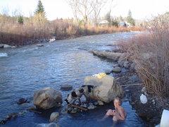 Rock Climbing Photo: The Hippy Dip. Free riverside hot spring smack in ...