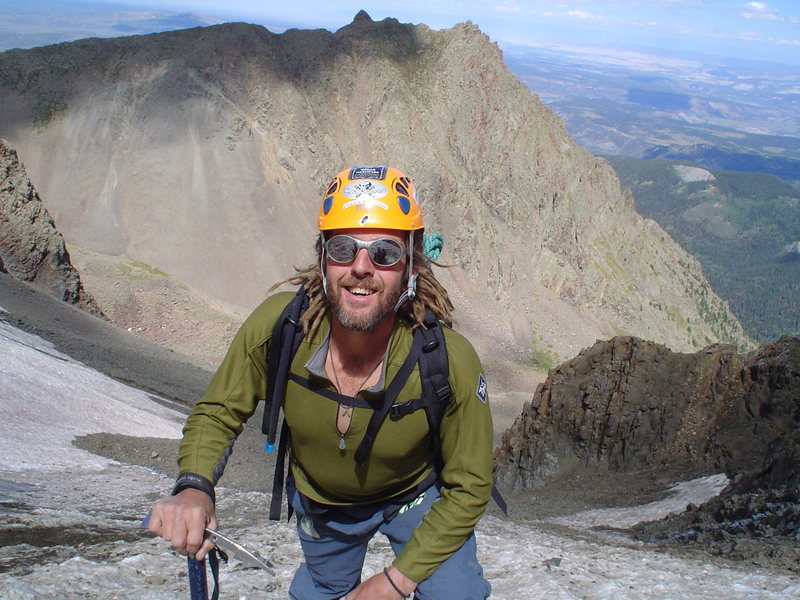 During a training sprint up the Northeast couloir on Mt. Sneffels.<br> Breathing harrrrd.