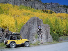 "Rock Climbing Photo: Bouldering up Camp Bird Rd. At 6'4"" Joe G mak..."