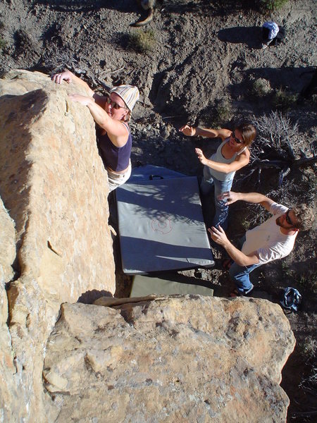 Rock Climbing Photo: H tryin hard on Bo knows V-1, Libidozone, northern...
