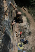 Rock Climbing Photo: Alex hits the ledge at 3/4s height. Dean Huwe on b...