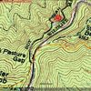 Area Map, Yellow is Shut-in Ridge trail, red is bouldering trail