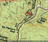 yellow is shutin ridge trail, red is bouldering trail