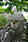 Rock Climbing Photo: View from the bottom of the route. Route starts in...