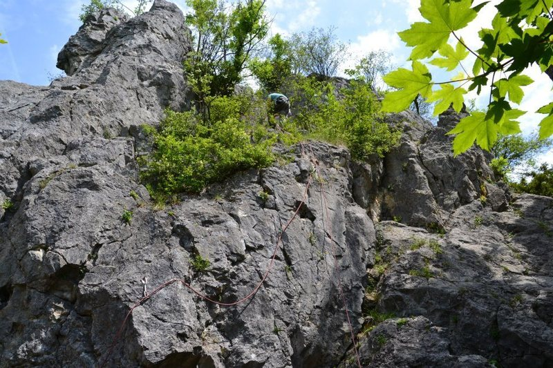Rock Climbing Photo: Whole route. Repelling off the large metal pipe ab...