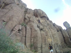 Rock Climbing Photo: Just passing the fixed #0 Metolius cam, route is f...