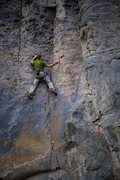 Rock Climbing Photo: Karsten on Blue Gray Fun