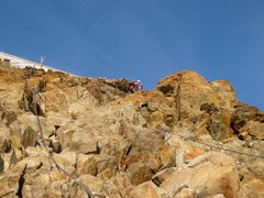 Rock Climbing Photo: Approaching the Refuge du Goûter.  Fixed cables a...