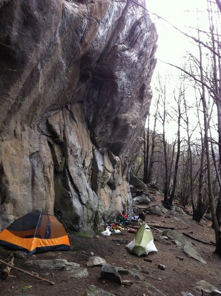 camping at the crag -- not un-allowed, so must be allowed...