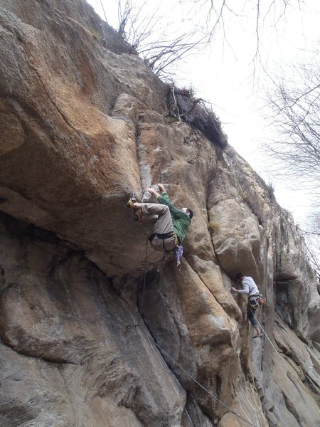 Step 3: don't wuss out like this...<br> <br> [climber on some 7c+ in the background]