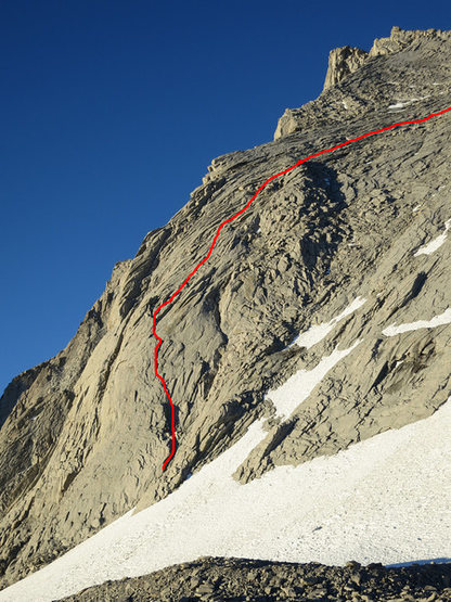 Rock Climbing Photo: Route highlighted in red.