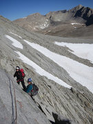 Rock Climbing Photo: Heading up P2 and looking back at the belay statio...