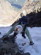Rock Climbing Photo: Near the top of N.E. couloir,Mt. Sneffels