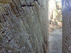Rock Climbing Photo: Clint Shuler crunches numbers on Trigonometry in W...