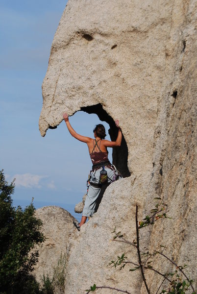 My smokin' hot wife climbing in Corsica!