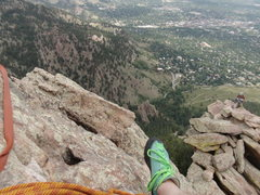 Rock Climbing Photo: One pitch from the top on the First Flatiron North...