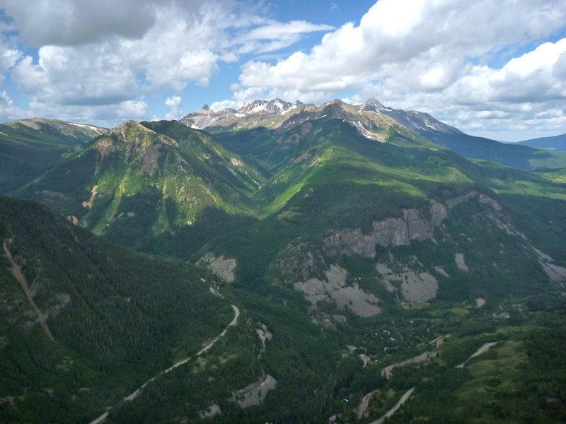 The Wilsons, Lizard Head,Ames Wall,San Bernardo Peak viewed from the summit of Ophir Needle