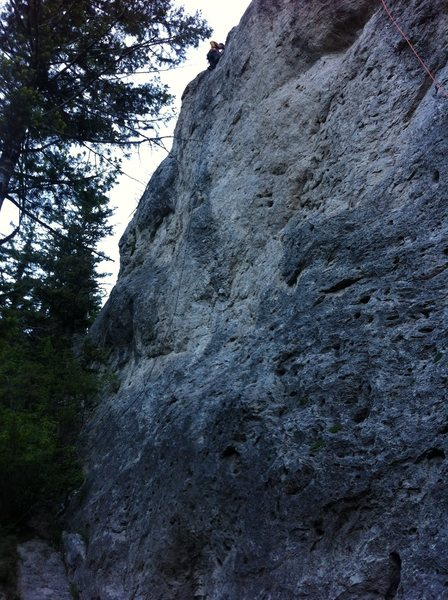 The Natural is directly right of the line that this unknown climber is on.