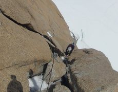 Rock Climbing Photo: Climbing the crack above the crux on pitch 4 (5.8)...