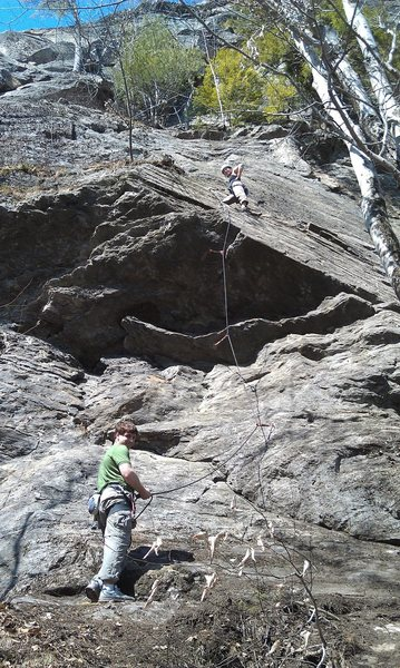 Jenny after pulling the crux roof with Chris belaying.   The rest is an easy cruiser.