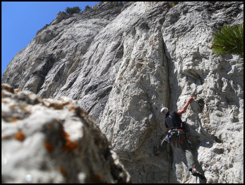 Rock Climbing Photo: Negotiating the thin crux on Klein's Girls