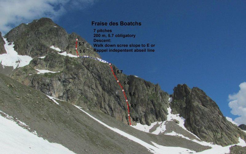 Rock Climbing Photo: Fraise des Boatchs topo