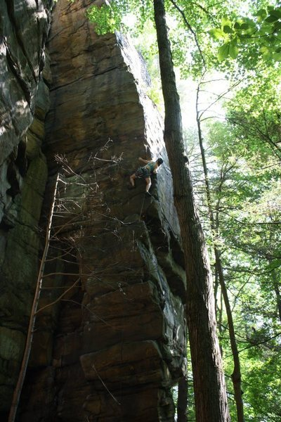 Rock Climbing Photo: Brandy Walters leading Flight of the Gumbie