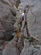 Rock Climbing Photo: Eva leading West Crack.