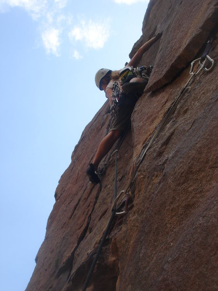 Eva gets ready for the crux....
