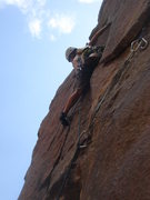 Rock Climbing Photo: Eva gets ready for the crux....