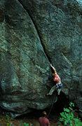 Rock Climbing Photo: Justin Guarino starting 'Heat Wave'