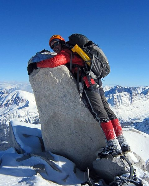 Rock Climbing Photo: Me hugging the summit block of Snowmass Mountain a...