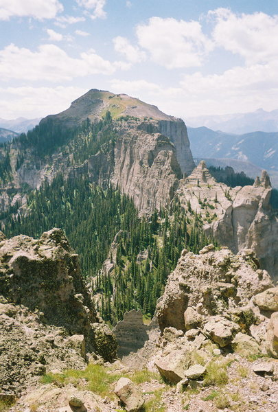 Courthouse Mtn. and connecting ridge from the summit of Chimney Peak.