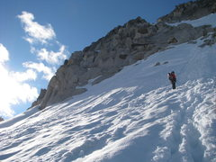 Rock Climbing Photo: Rapping the snowfield, it's nice to have two ropes...