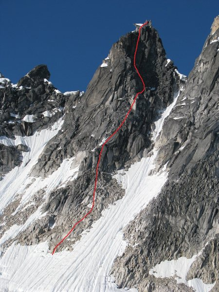 The route, one of many possible options down low.  Up high, follow the rap anchors so you don't get suckered into a dead end crack and have to traverse.