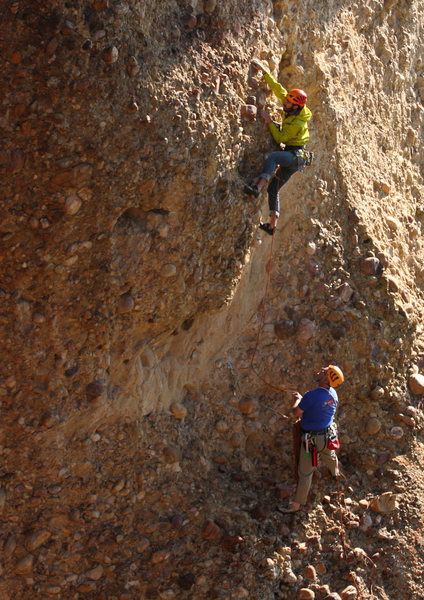 Rock Climbing Photo: Matthew Selman and Jason Stevens at the crux of Ta...