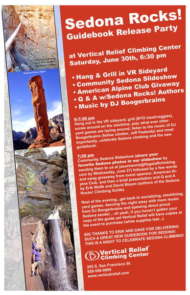 Book release party announcement for Sedona Rocks! A Climber's Guide