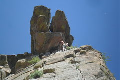 Rock Climbing Photo: Brenda at the Illegal Smile anchors.  (Route share...
