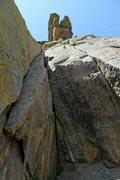 Rock Climbing Photo: Brenda at the anchors.