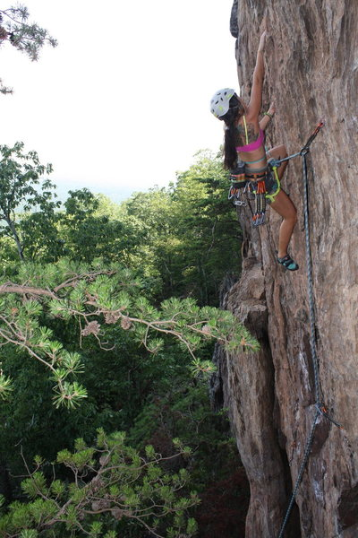 Rising Sun Wall<br> <br> No Added Weight(5.10) sport<br> <br> Crowders Mountain State Park, North Caroina