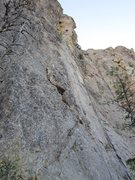 Rock Climbing Photo: Steve Brown before moving around arete.