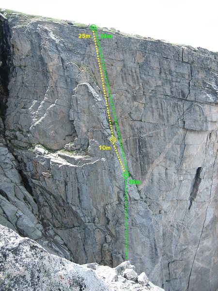 Rock Climbing Photo: Mt. Evans Black Wall rappel route.  Note, you can ...