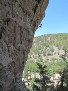 Rock Climbing Photo: Nearing the redpoint crux on the superb Jabberwock...